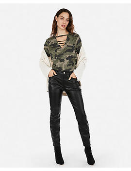 Express One Eleven Camo Strappy Linen Blend Girlfriend Tee by Express