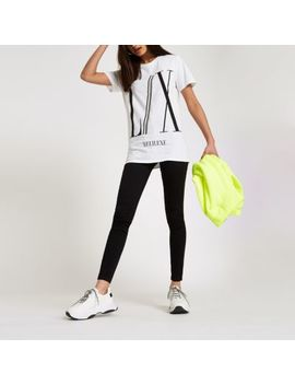White 'Lx' Diamante Trim Boyfriend T Shirt by River Island