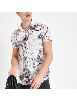 Ecru Floral Button Down Short Sleeve Shirt by River Island