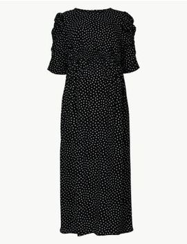Maternity Polka Dot Waisted Midi Dress by Marks & Spencer