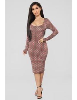Look At My Design Midi Dress   Rust by Fashion Nova