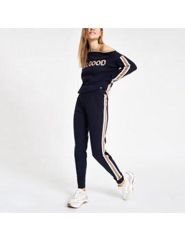 Navy 'feel Good' Knitted Tape Joggers by River Island