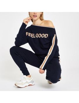 Navy 'Feel Good' Tape Jumper by River Island