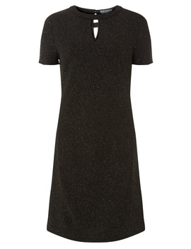 **Tall Black Cut Out Detail Gold Shimmer Shift Dress by Dorothy Perkins