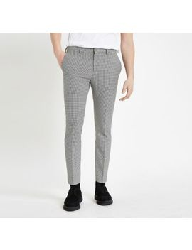 Black Houndstooth Super Skinny Smart Pants by River Island