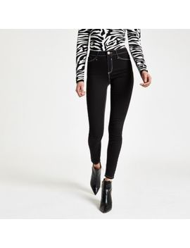 Black Molly Contrast Mid Rise Jeggings by River Island