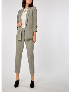 Grey Check Edge To Edge Blazer by Dorothy Perkins