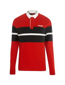 Wrangler Red Block Long Sleeve Rugby Shirt by River Island