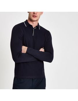 Navy Slim Fit Tipped Long Sleeve Polo Shirt by River Island