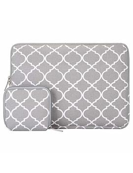 Mosiso Laptop Sleeve Bag Compatible 13 13.3 Inch Mac Book Pro, Mac Book Air, Notebook With Small Case, Canvas Fabric Quatrefoil Style Protective Carrying Cover, Gray by Mosiso