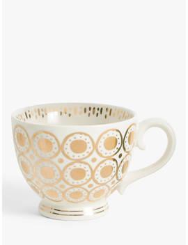 John Lewis & Partners Circle Metallic Cup, 400ml, White/Gold by John Lewis & Partners