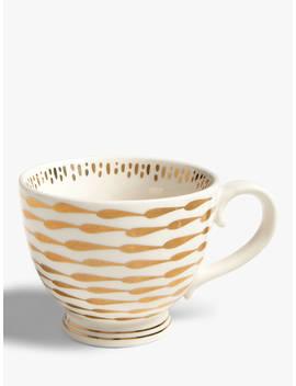 John Lewis & Partners Dash Metallic Cup, 400ml, White/Gold by John Lewis & Partners