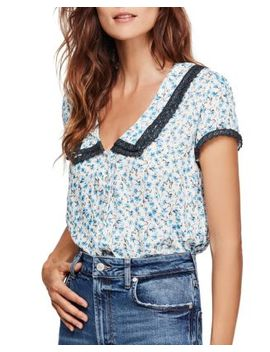Ana Lace Trim Floral Print Blouse by Free People