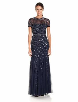 Adrianna Papell Women's Short Sleeve Beaded Mesh Gown by Adrianna Papell