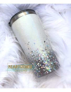 Silver Ombre Chunky Glitter Tumbler by Etsy