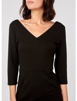 Black Seamed 3/4 Sleeve Pencil Dress by Dorothy Perkins