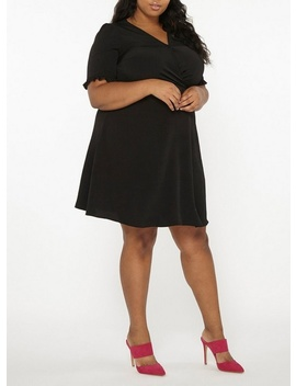**Dp Curve Black Ruffle Back Fit And Flare Dress by Dorothy Perkins