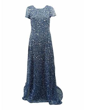 Adrianna Papell Women's Short Sleeve All Over Sequin Gown by Adrianna Papell