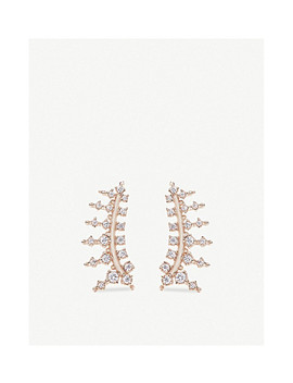 Laurie 14ct Rose Gold Plated And Cubic Zirconia Climber Earrings by Kendra Scott