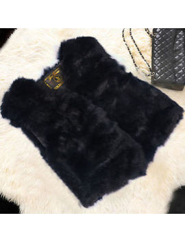 Real Rabbit Fur Jacket Coat Sweater Vest Waistcoats Magic Design Shawl Domestic by Unbranded