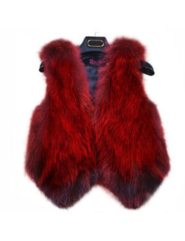 Real Farm Fox Fur Vest Waistcoat Gilet Jacket Coat Womens Warm Clothing Rose Red by Unbranded