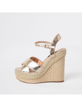 Gold Wide Fit Metallic Platform Wedges by River Island