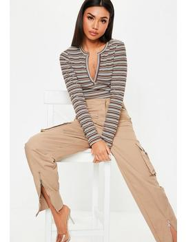 Brown Stripe Notch Neck Ribbed Top by Missguided