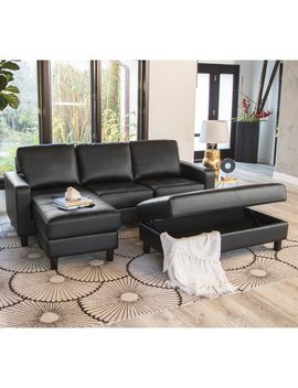 Abbyson Malden Tufted Leather Reversible Sectional And Ottoman by Abbyson