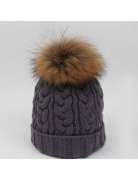 Women Ladies Winter Warm Knitted Raccoon Real Fur Pom Beanie Bobble Ski Hat Caps by Unbranded