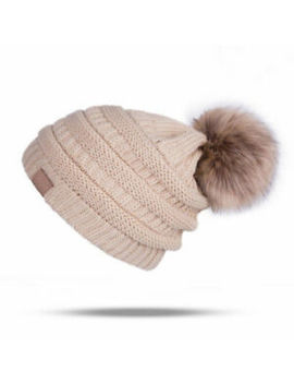 Womens Girls Winter Beanie With Real Raccoon Fur Pom Pom Wool Knittd Cuff Hat by Unbranded