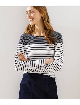 Petite Maritime Stripe Long Sleeve Shirttail Tee by Loft