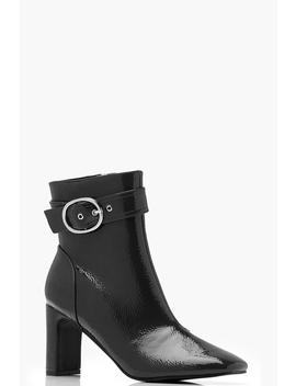 Patent Buckle Detail Ankle Boots by Boohoo