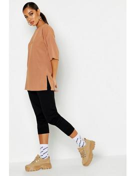 Basic Rib Oversized T Shirt by Boohoo