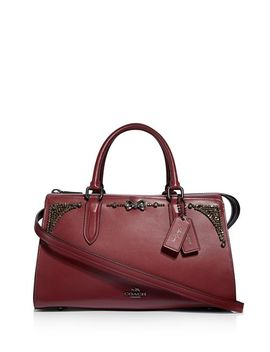 X Selena Gomez Bond Crystal Embellished Leather Satchel by Coach