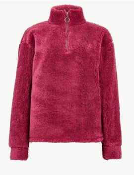 Textured Borg Zip Up Sweatshirt by Marks & Spencer
