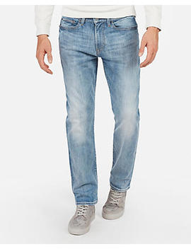 Classic Straight Light Wash Stretch Jeans by Express