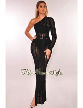 Black Cable Knit Crochet One Shoulder Slit Maxi Dress by Hot Miami Style