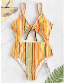 Zaful Striped Cutout One Piece Swimsuit   Bee Yellow S by Zaful