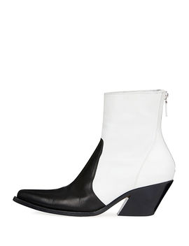 Bicolor Leather Cowboy Booties by Givenchy