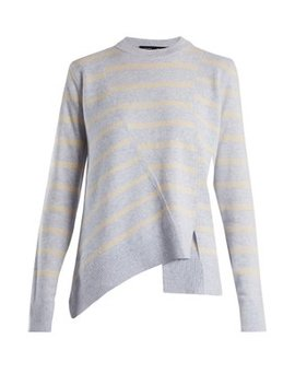 Panelled Crew Neck Striped Wool Blend Sweater by Proenza Schouler