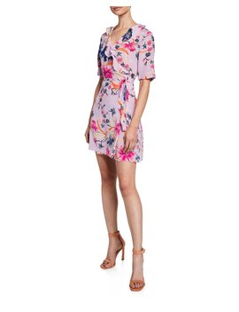 Savilla Floral Print Surplice Mini Wrap Dress by Diane Von Furstenberg
