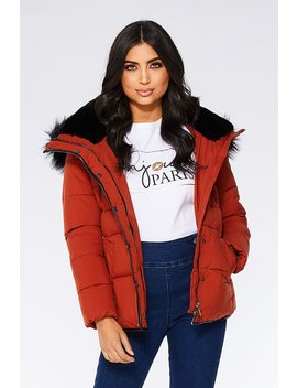 Rust And Black Padded Fur Trim Jacket by Quiz