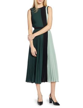 X Atlantic Pacific Colorblock Pleated Midi Dress by Halogen®