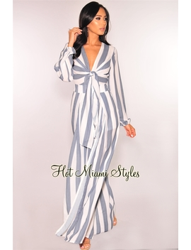 White Blue Striped Tie Up Slit Palazzo Jumpsuit by Hot Miami Style