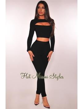 Black Bandage Ribbed Key Hole High Waist Two Piece Set by Hot Miami Style