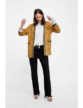 Tweed Jacket With Faux Pearls  Cardigans Knitwear Woman Sale by Zara