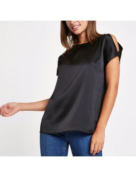 Black Round Neck Lace Trim Top by River Island