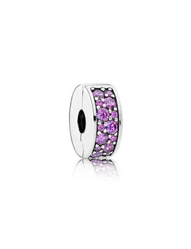 Shining Elegance Clip, Fancy Purple Cz Sterling Silver, Silicone, Purple, Cubic Zirconia by Pandora