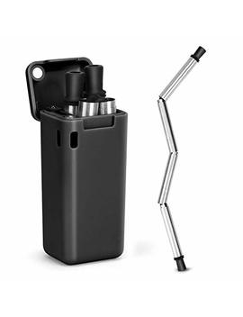 Hydream Zdxg Us B Collapsible Reusable Stainless Steel Folding Drinking Straws Keychain Foldable Final Premium Food Grade Portable Set With Hard Case Holder Clea, Small Black by Hydream