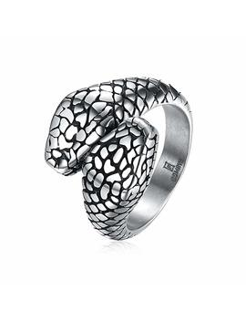 Ivyrise Amphisbaena Double Head Lucky Snake Protecting Stainless Steel Ring For Men And Women by Ivyrise